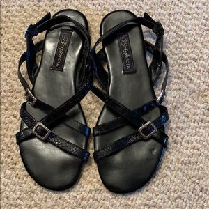 Black Brighton sandals with ankle strap